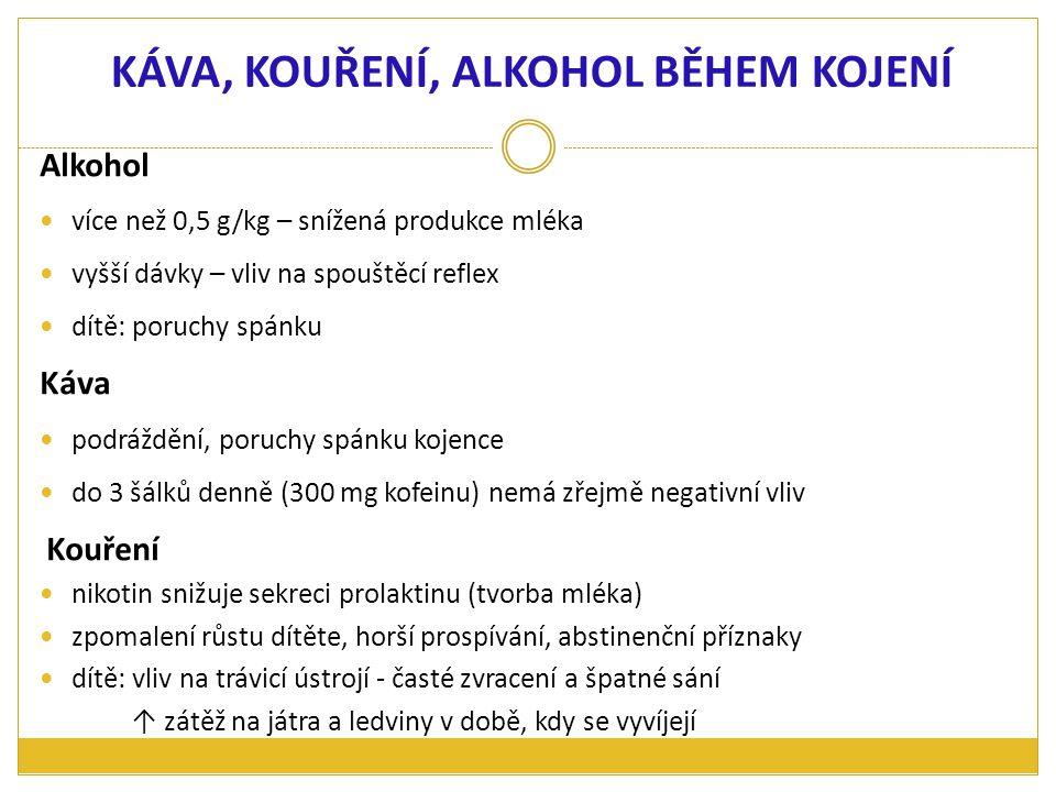 KÁVA, KOUŘENÍ, ALKOHOL BĚHEM KOJENÍ