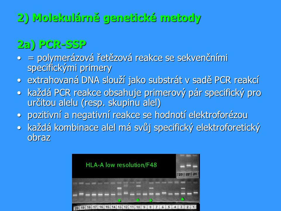 2) Molekulárně genetické metody 2a) PCR-SSP