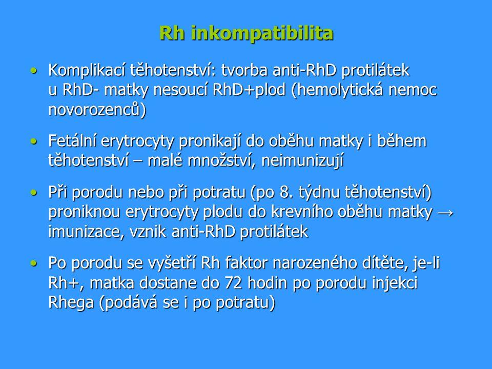 Rh inkompatibilita Komplikací těhotenství: tvorba anti-RhD protilátek u RhD- matky nesoucí RhD+plod (hemolytická nemoc novorozenců)