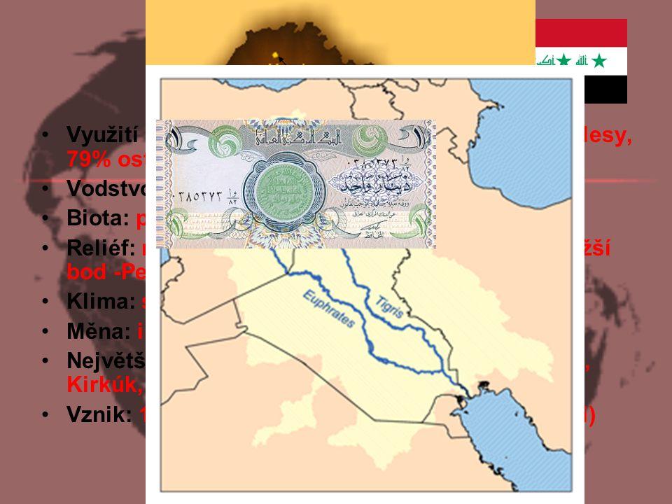 Základní údaje Využití plochy: 12% orná půda, 9% pastviny, 0% lesy, 79% ostatní. Vodstvo: nejdelší řeka Eufrat (2760 km),Tigris.