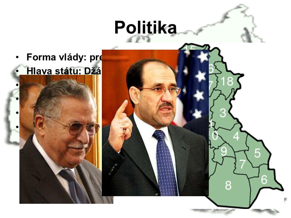Politika Forma vlády: prezidentská Hlava státu: Džábal Talabání (2006)