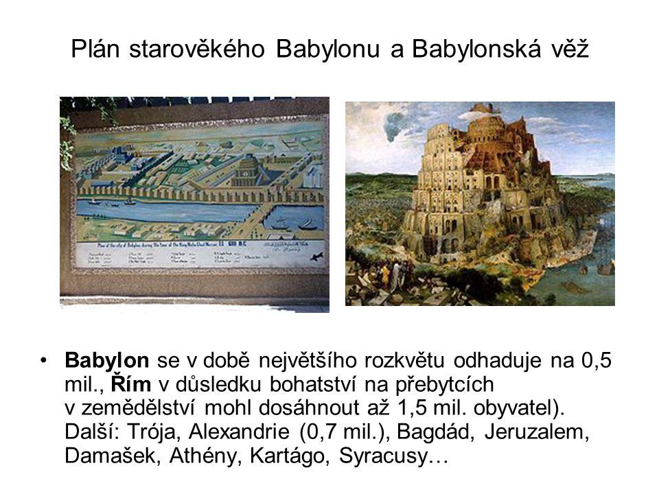 Plán starověkého Babylonu a Babylonská věž