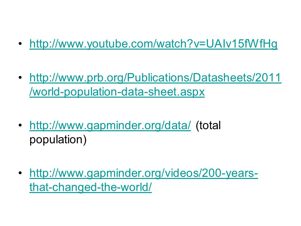http://www.youtube.com/watch v=UAIv15fWfHg http://www.prb.org/Publications/Datasheets/2011/world-population-data-sheet.aspx.