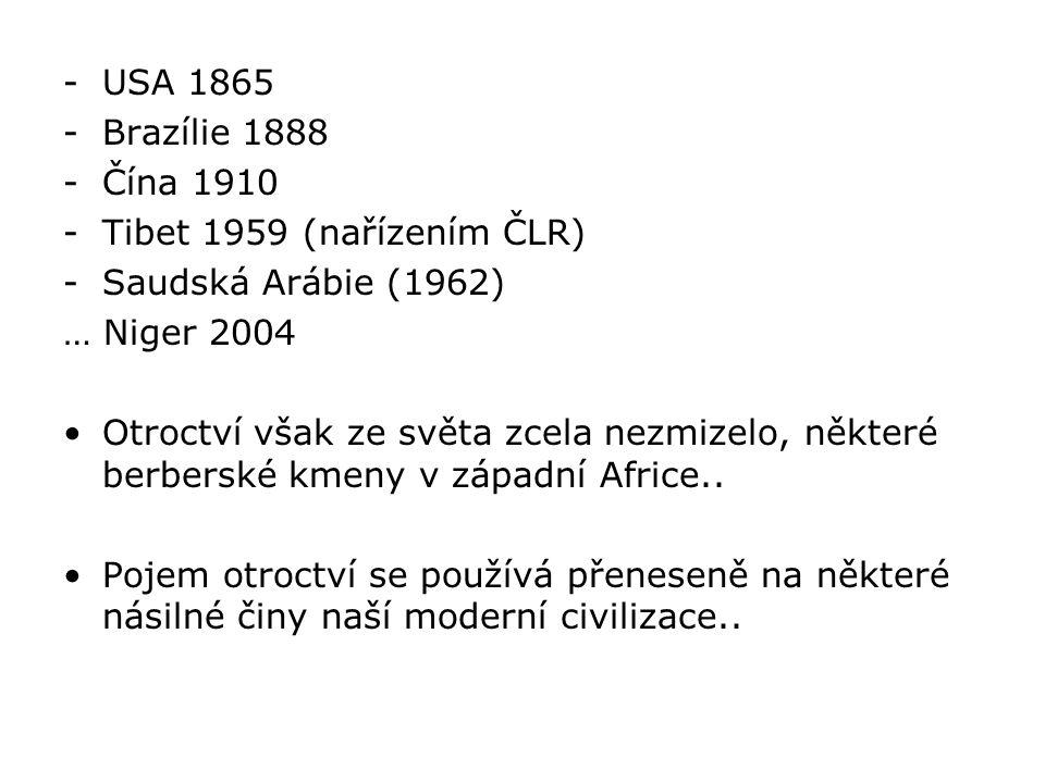USA 1865 Brazílie 1888. Čína 1910. Tibet 1959 (nařízením ČLR) Saudská Arábie (1962) … Niger 2004.