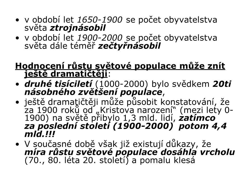 v období let 1650-1900 se počet obyvatelstva světa ztrojnásobil