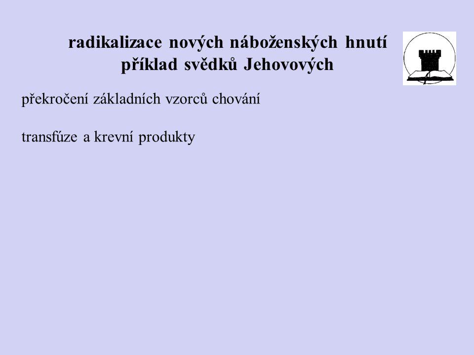radikalizace nových náboženských hnutí příklad svědků Jehovových