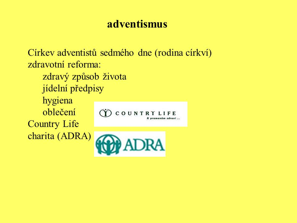adventismus Církev adventistů sedmého dne (rodina církví)