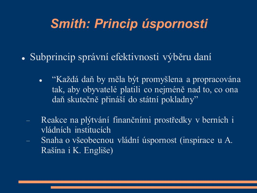 Smith: Princip úspornosti