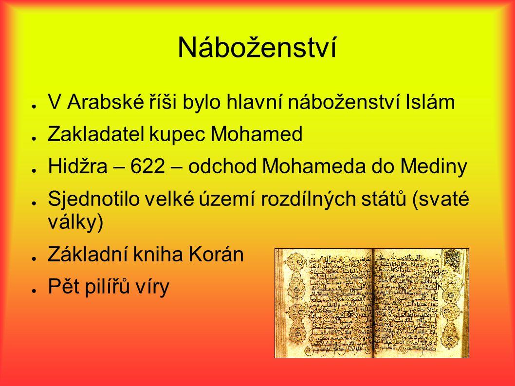 Náboženství V Arabské říši bylo hlavní náboženství Islám