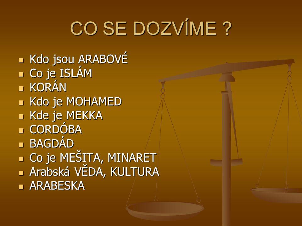 CO SE DOZVÍME Kdo jsou ARABOVÉ Co je ISLÁM KORÁN Kdo je MOHAMED