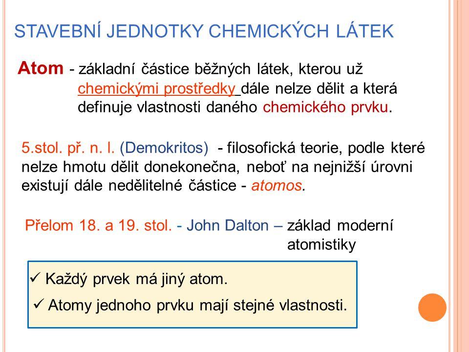STAVEBNÍ JEDNOTKY CHEMICKÝCH LÁTEK