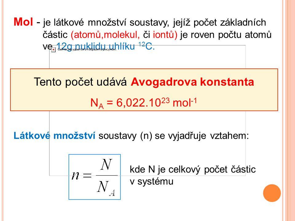 Tento počet udává Avogadrova konstanta NA = 6,022.1023 mol-1