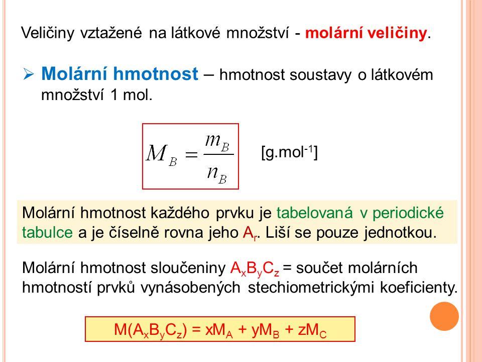 Veličiny vztažené na látkové množství - molární veličiny.