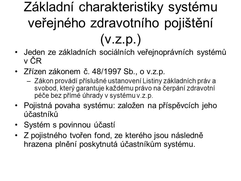Základní charakteristiky systému veřejného zdravotního pojištění (v. z