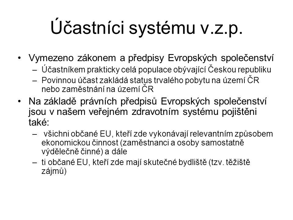 Účastníci systému v.z.p. Vymezeno zákonem a předpisy Evropských společenství. Účastníkem prakticky celá populace obývající Českou republiku.