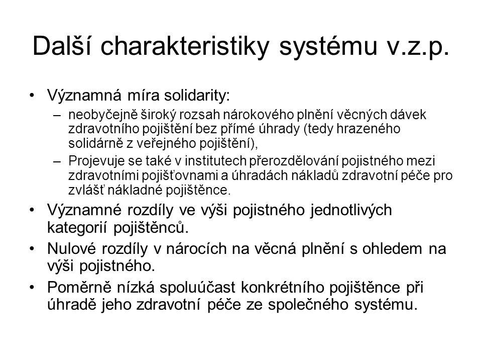 Další charakteristiky systému v.z.p.