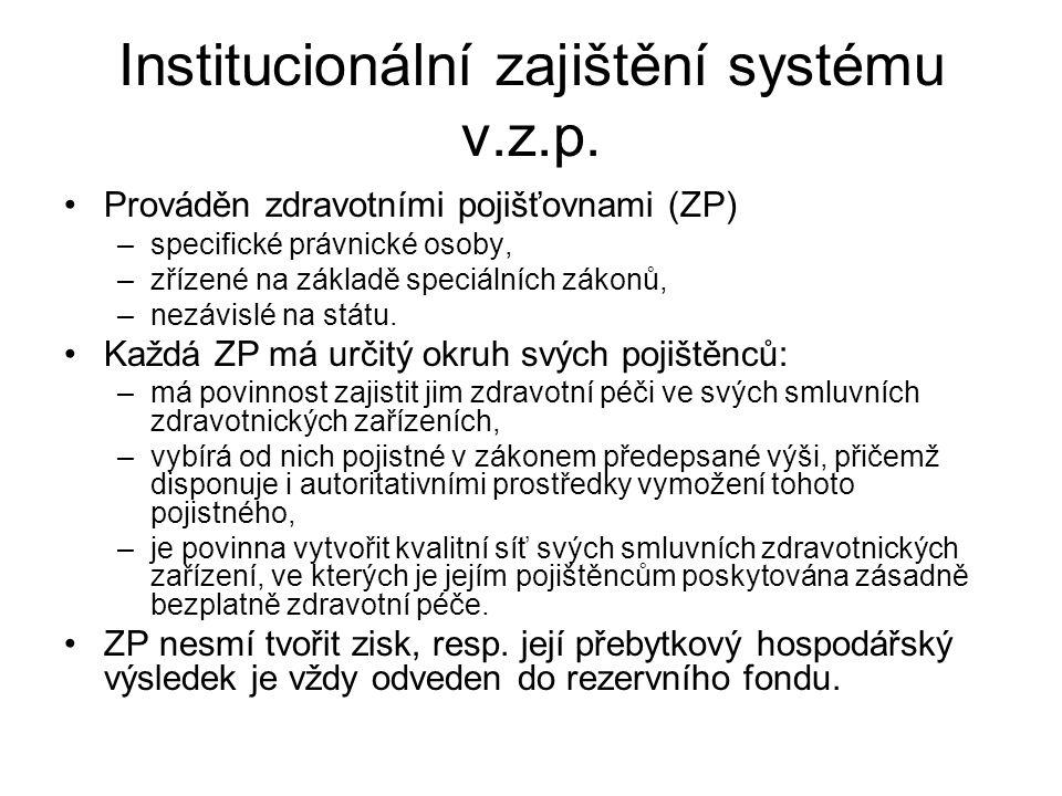 Institucionální zajištění systému v.z.p.