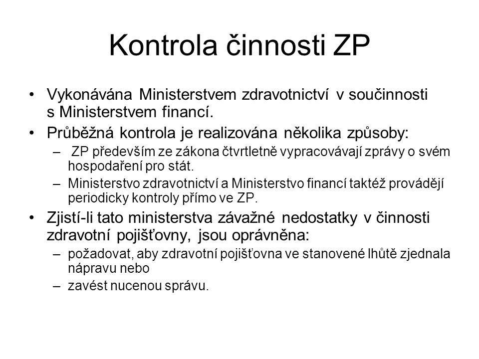 Kontrola činnosti ZP Vykonávána Ministerstvem zdravotnictví v součinnosti s Ministerstvem financí.