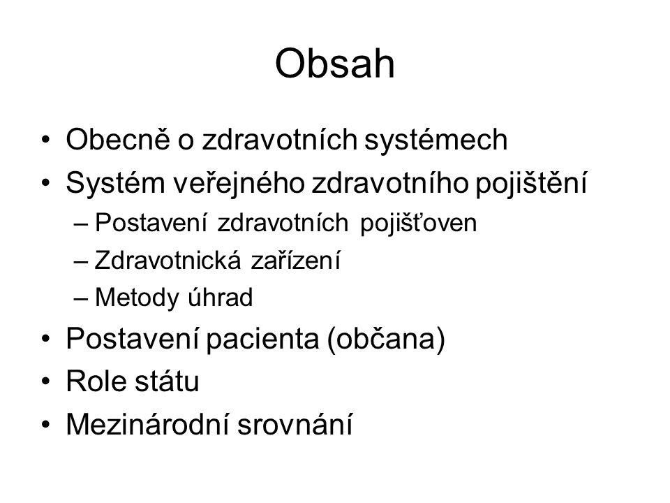 Obsah Obecně o zdravotních systémech