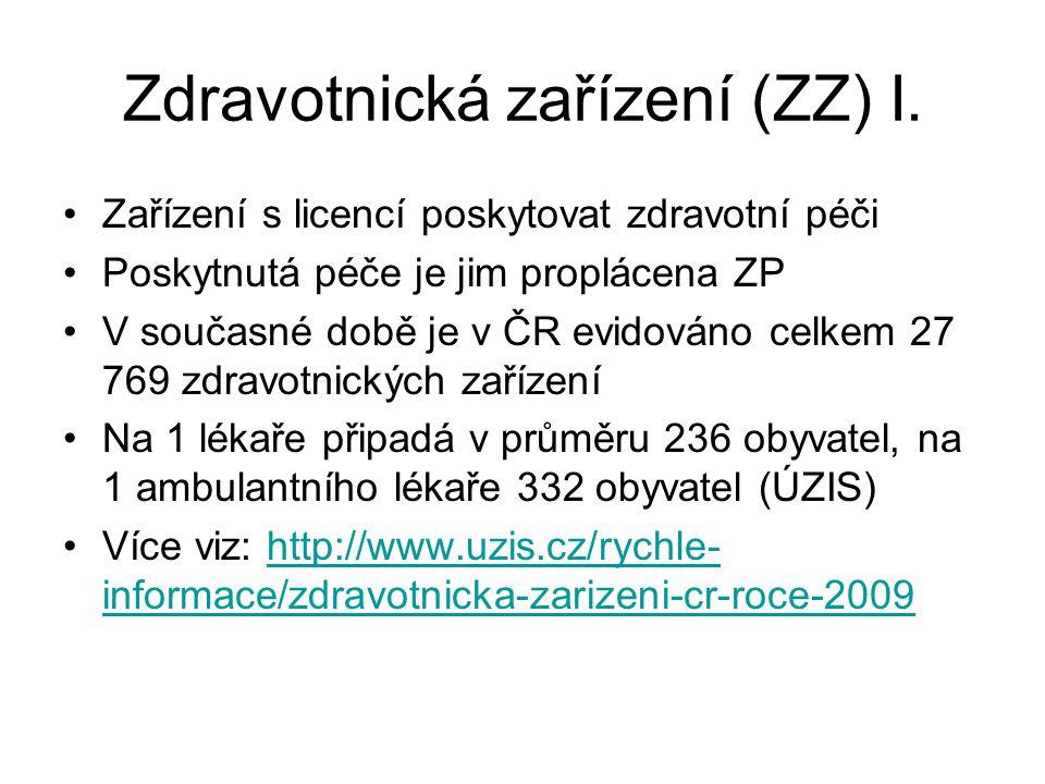 Zdravotnická zařízení (ZZ) I.