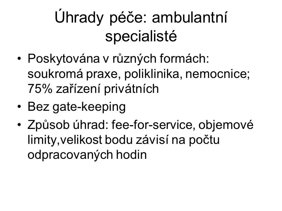 Úhrady péče: ambulantní specialisté