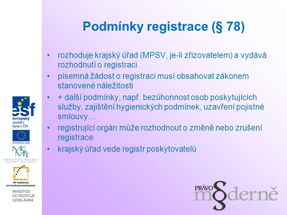 Podmínky registrace (§ 78)