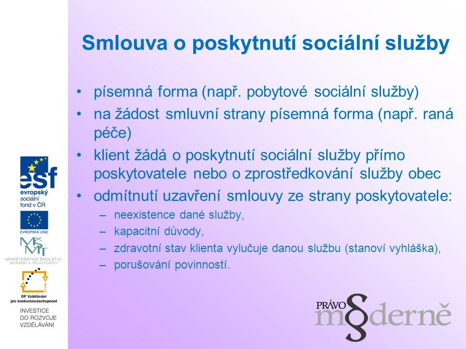 Smlouva o poskytnutí sociální služby