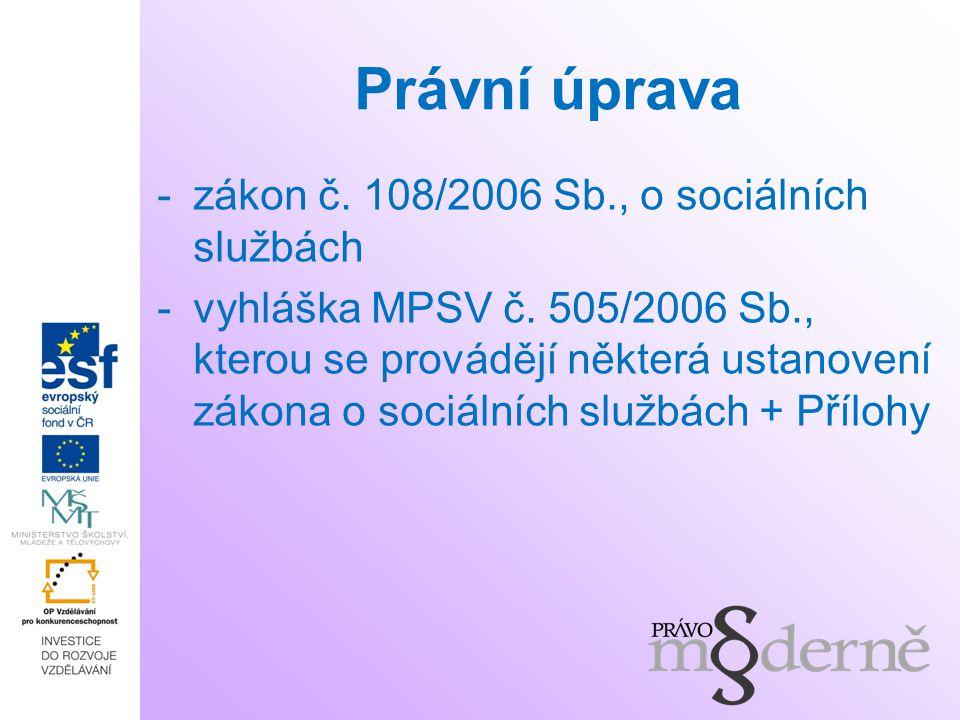 Právní úprava zákon č. 108/2006 Sb., o sociálních službách