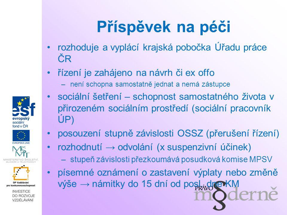 Příspěvek na péči rozhoduje a vyplácí krajská pobočka Úřadu práce ČR