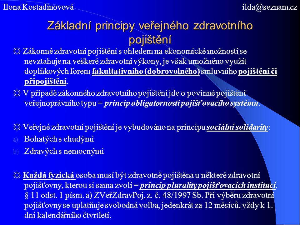 Základní principy veřejného zdravotního pojištění