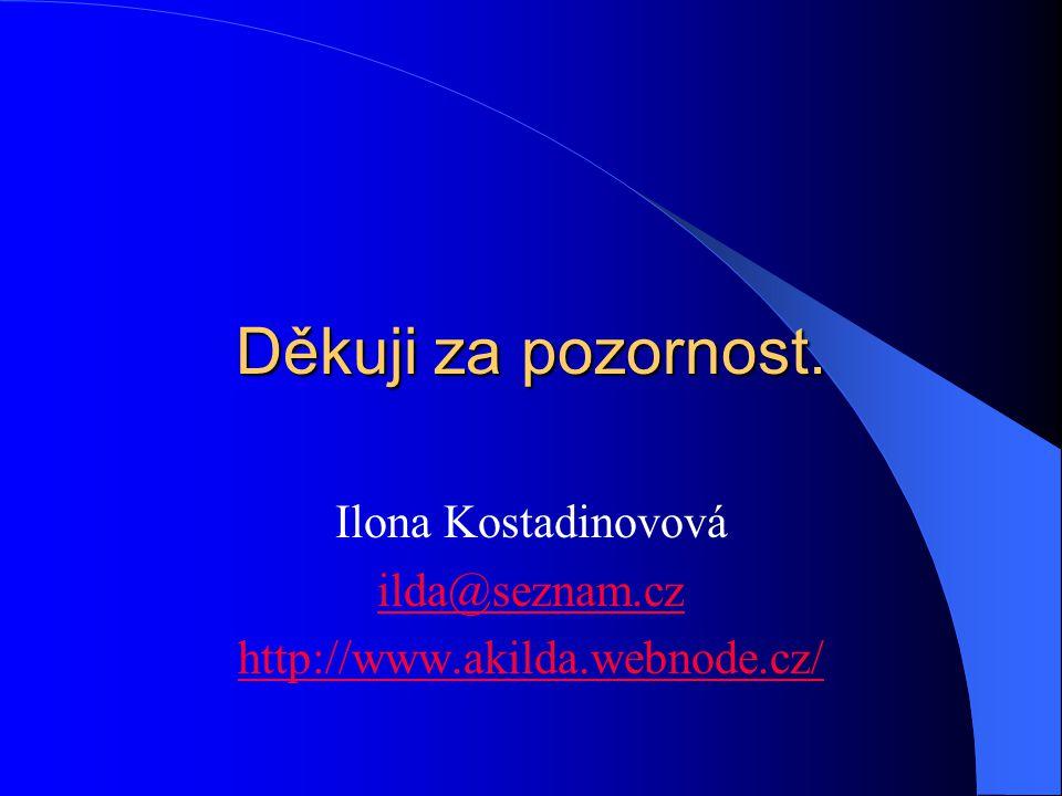 Děkuji za pozornost. Ilona Kostadinovová ilda@seznam.cz