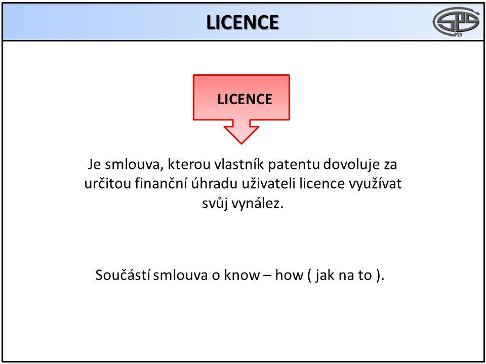 LICENCE LICENCE. Je smlouva, kterou vlastník patentu dovoluje za určitou finanční úhradu uživateli licence využívat svůj vynález.