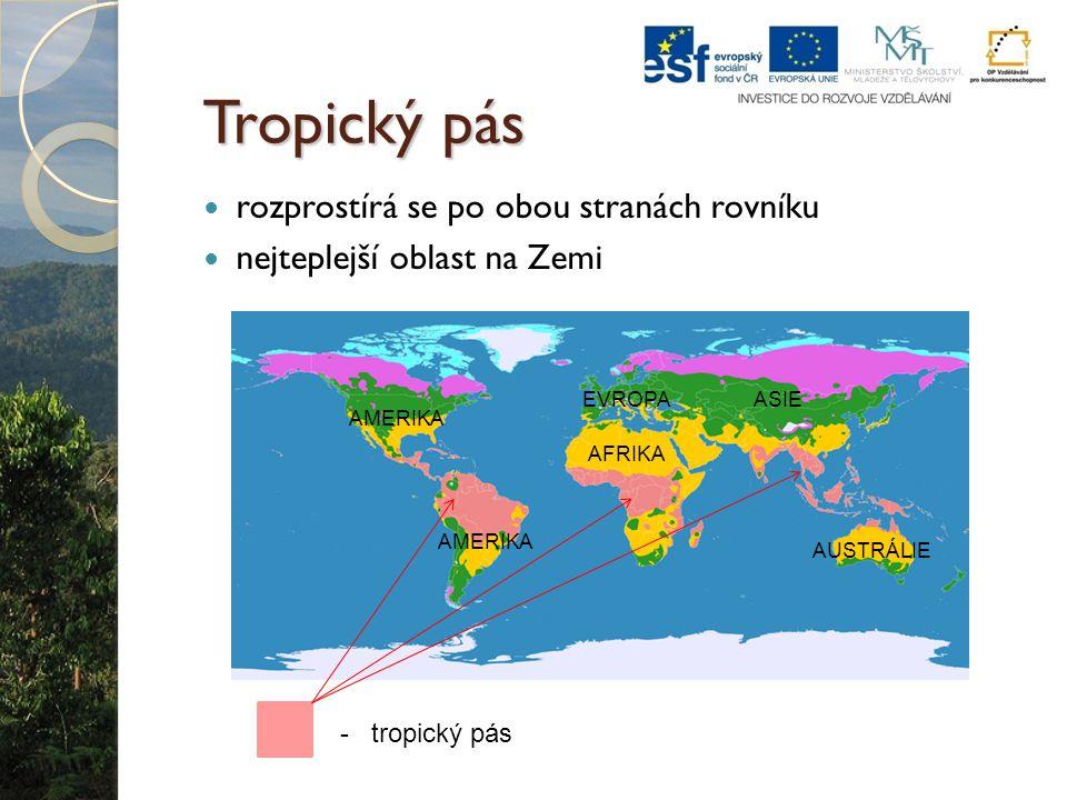 Tropický pás rozprostírá se po obou stranách rovníku