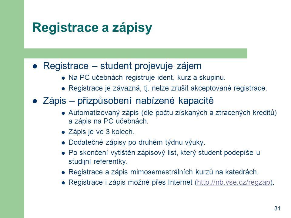 Registrace a zápisy Registrace – student projevuje zájem
