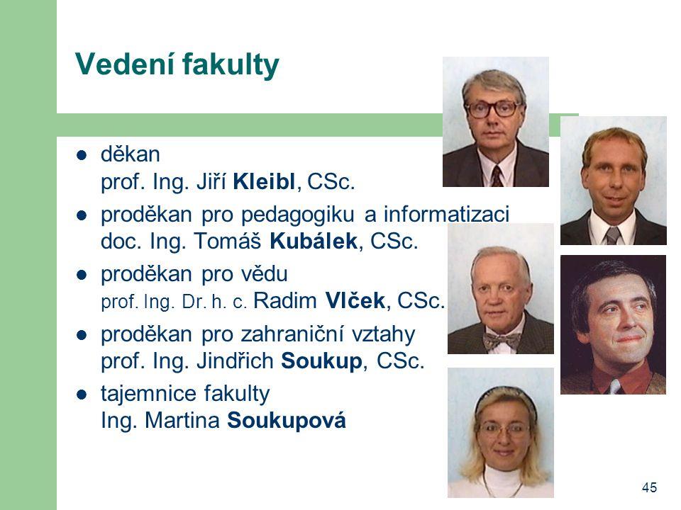 Vedení fakulty děkan prof. Ing. Jiří Kleibl, CSc.