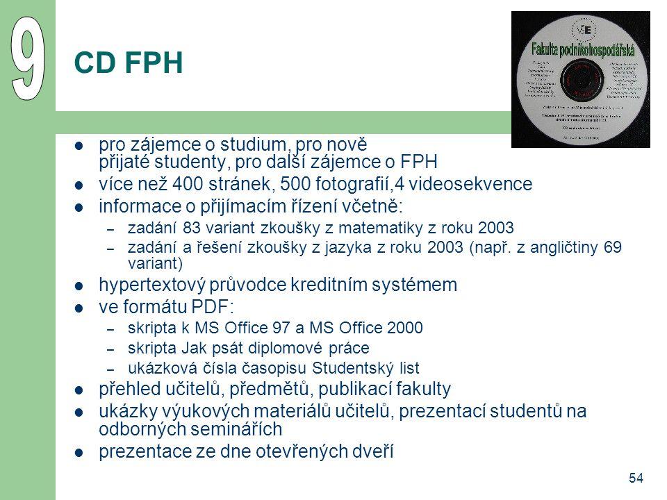 9 CD FPH. pro zájemce o studium, pro nově přijaté studenty, pro další zájemce o FPH. více než 400 stránek, 500 fotografií,4 videosekvence.