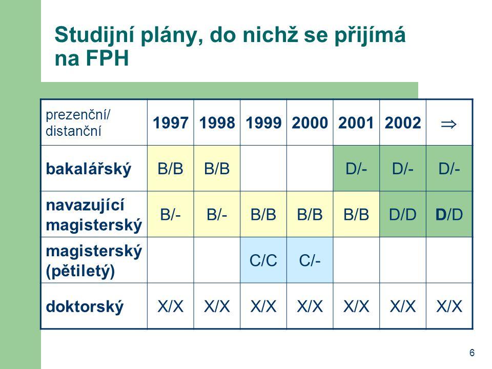 Studijní plány, do nichž se přijímá na FPH