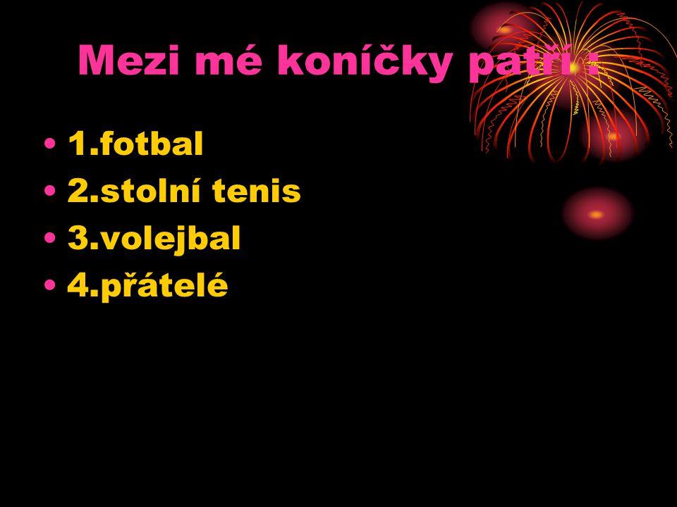 Mezi mé koníčky patří : 1.fotbal 2.stolní tenis 3.volejbal 4.přátelé