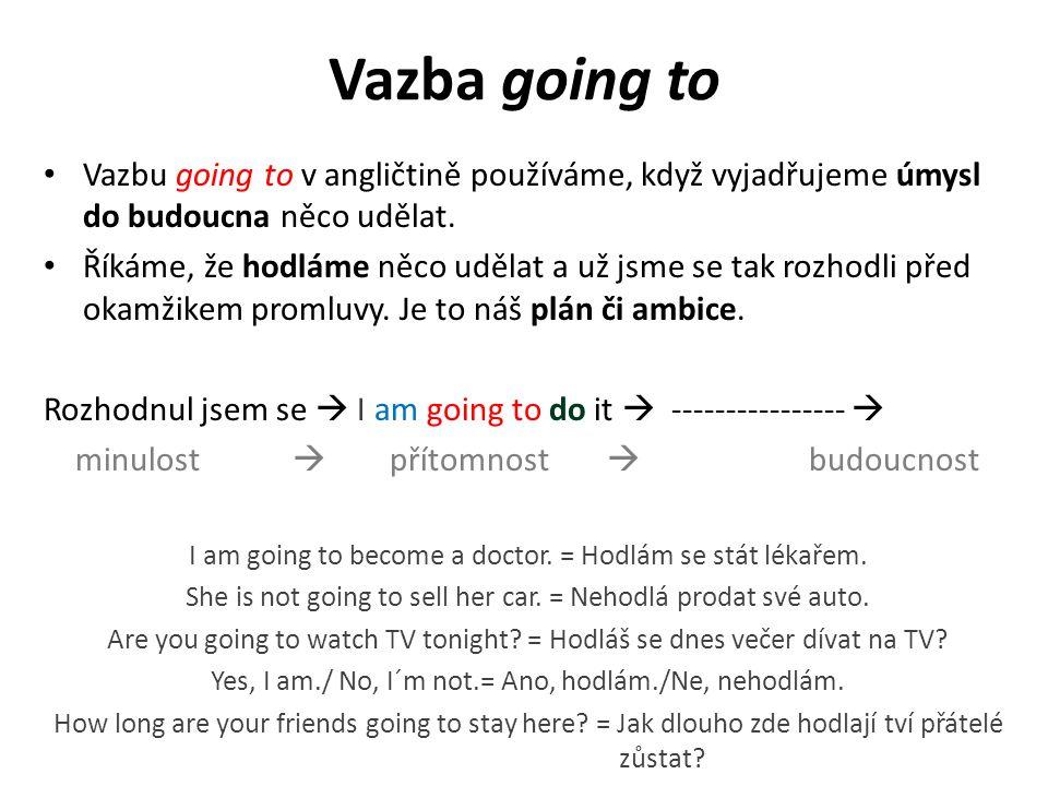 Vazba going to Vazbu going to v angličtině používáme, když vyjadřujeme úmysl do budoucna něco udělat.