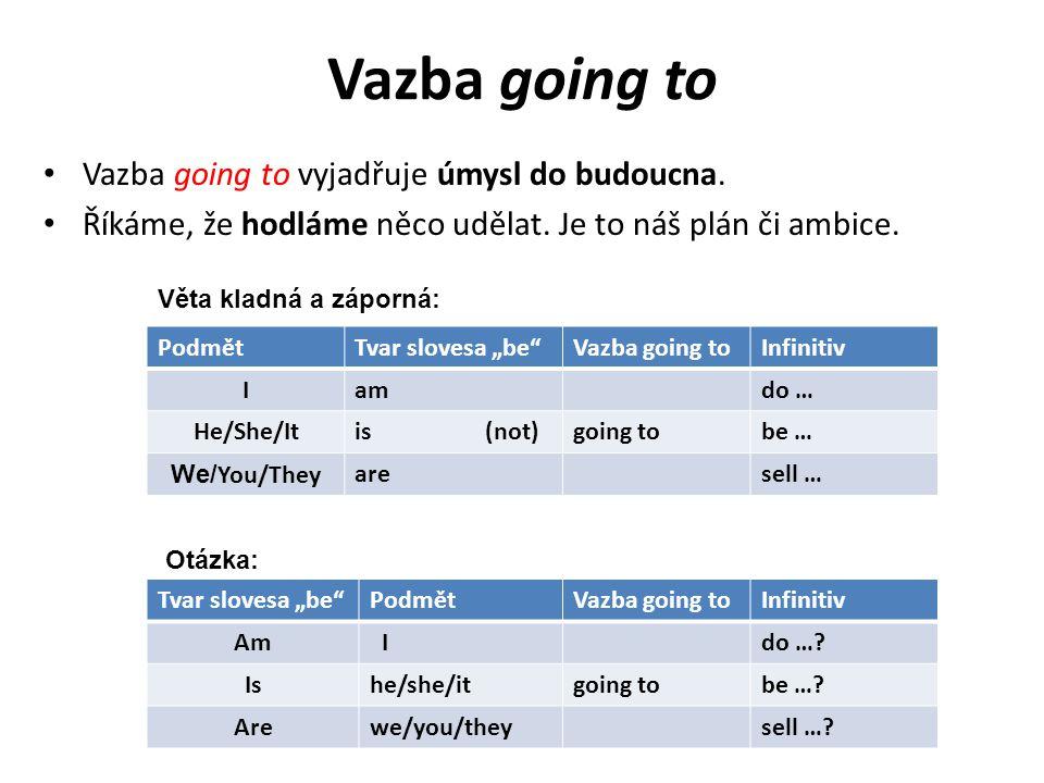 Vazba going to Vazba going to vyjadřuje úmysl do budoucna.