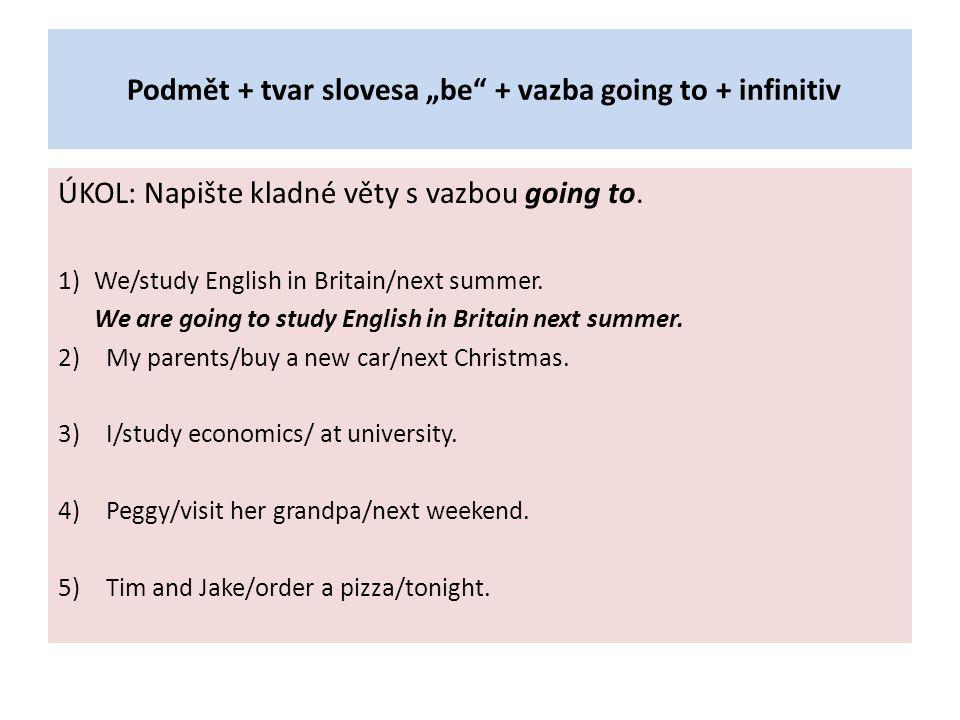 """Podmět + tvar slovesa """"be + vazba going to + infinitiv"""