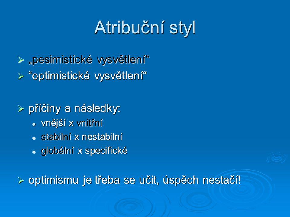 """Atribuční styl """"pesimistické vysvětlení optimistické vysvětlení"""