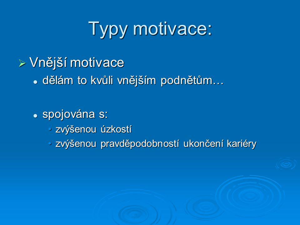 Typy motivace: Vnější motivace dělám to kvůli vnějším podnětům…