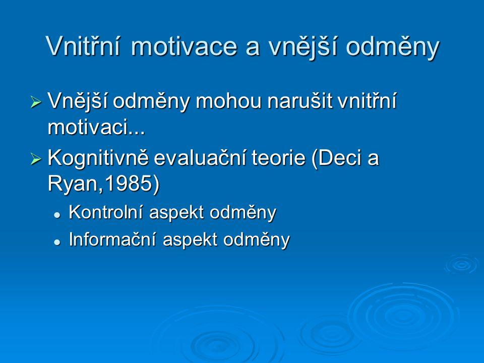 Vnitřní motivace a vnější odměny