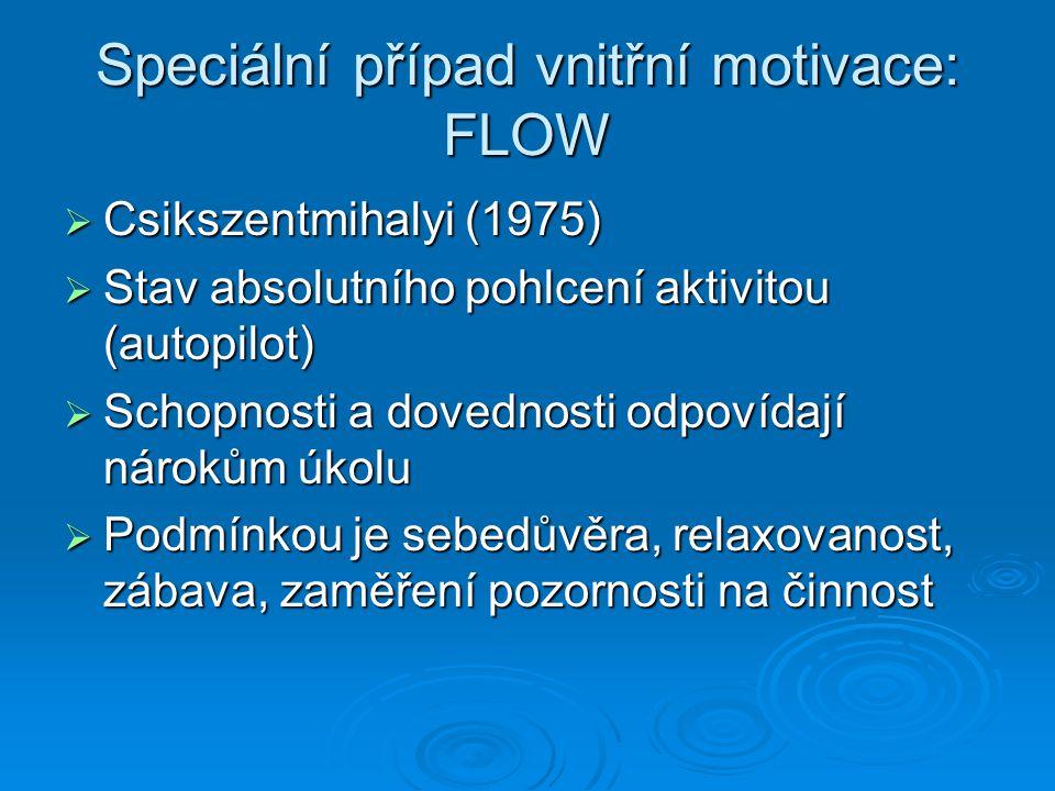 Speciální případ vnitřní motivace: FLOW
