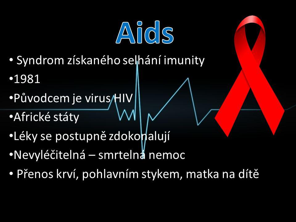 Aids Syndrom získaného selhání imunity 1981 Původcem je virus HIV