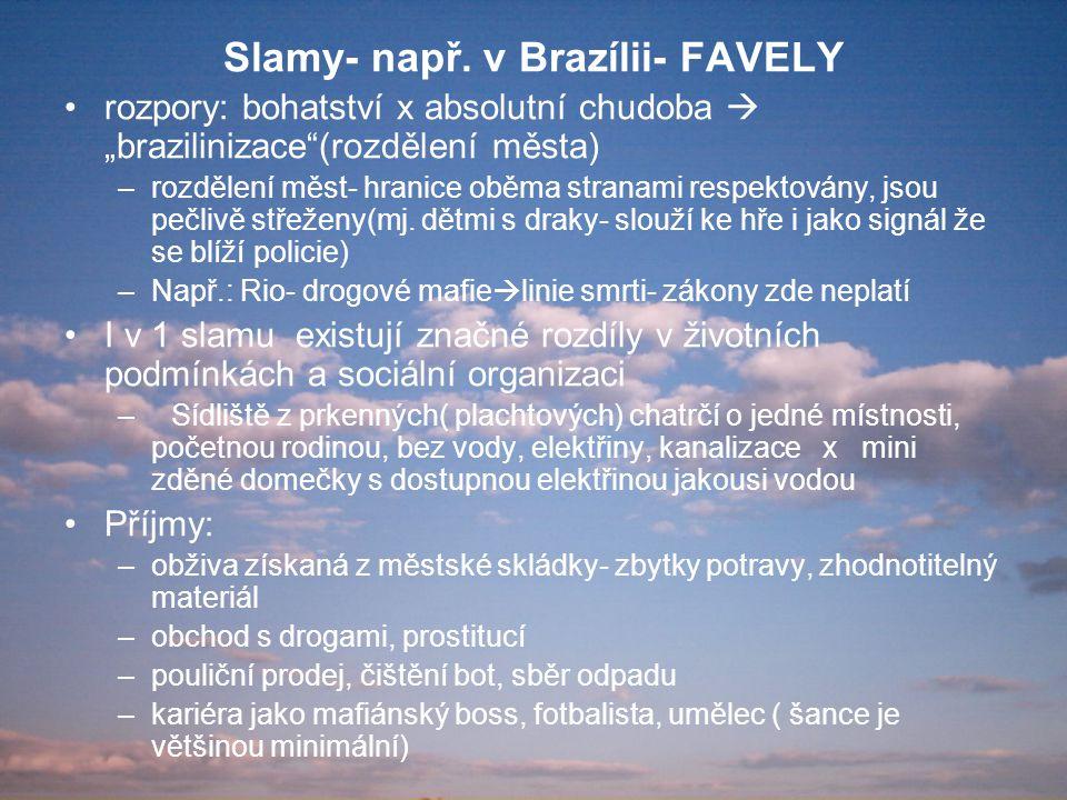 Slamy- např. v Brazílii- FAVELY