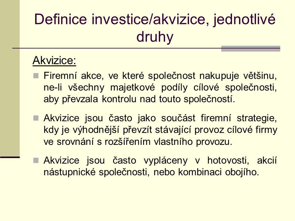 Definice investice/akvizice, jednotlivé druhy