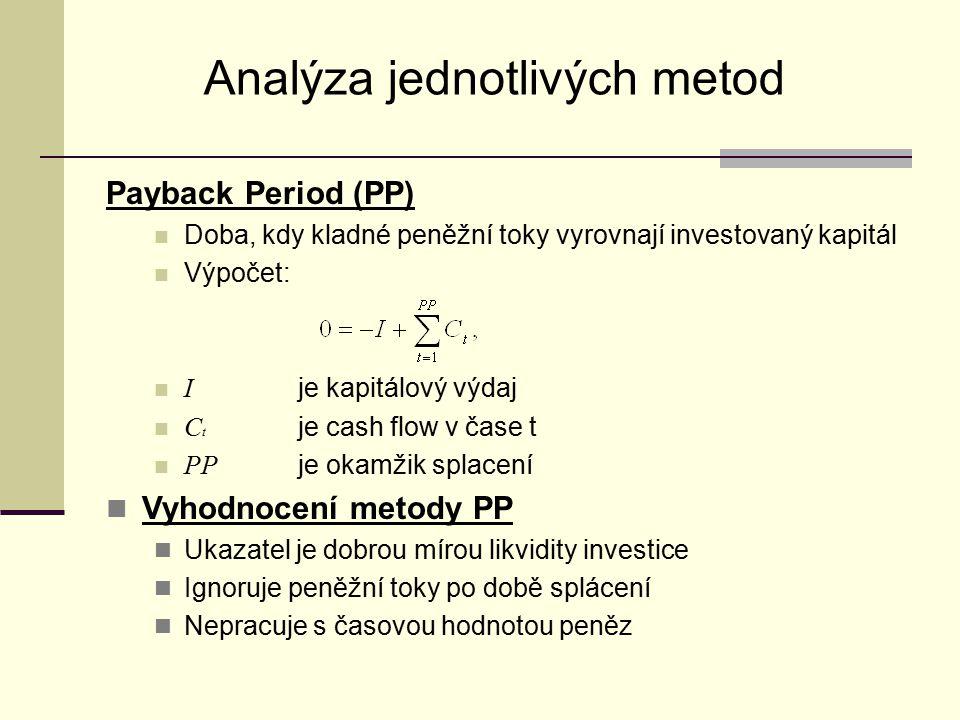 Analýza jednotlivých metod