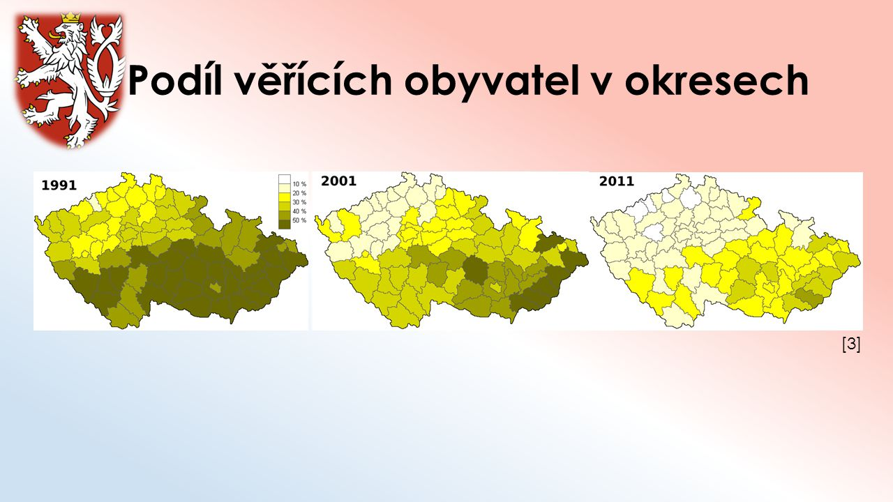 Podíl věřících obyvatel v okresech